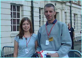 Roving reporter Amy, 15, from Oundle, arrives at the Academy with her dad.