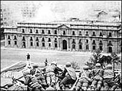 Soldiers firing on the Presidential Palace
