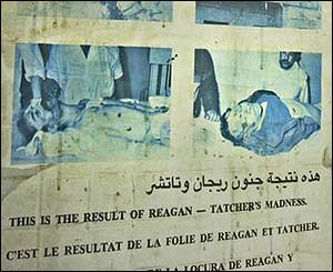 Poster blaming the US for the deaths of 101 people in the 1986 strikes in Libya