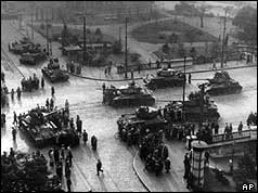 Aerial view of Soviet tanks on streets
