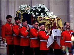 Bearers carry Diana's coffin