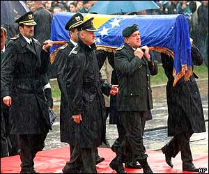 Top Bosnian Army Generals carry the coffin of former Bosnian President Alija Izetbegovic during his memorial service