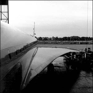 Concorde G-BOAE in the maintenance hangar at Heathrow, September, 2003, by Alasdair McLean, with thanks to the duty engineer