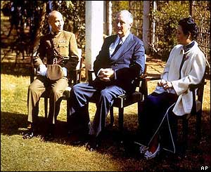 President Franklin D. Roosevelt is seated with Madame and Chiang Kai-shek, 1943