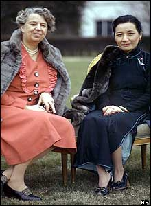 Mrs. Eleanor Roosevelt sits with Madame Chiang Kai-shek