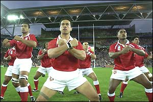 The Tongan team perform the sipi tau, their version of the haka
