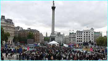 And a different view: celebrating in London's Trafalgar Square
