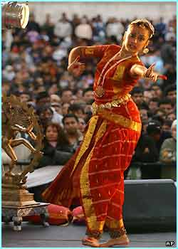 Brindha Sachpev from London performs the Sarve Mangalam dance