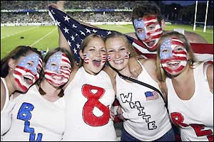 The USA fans show their support in the packed Gosford Stadium