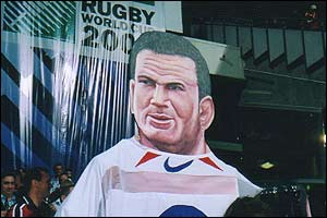 A cardboard cut out of Martin Johnson in the crowd as England play South Africa