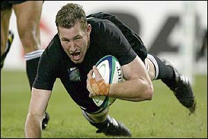 Chris Jack scores a try for New Zealand