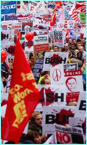 Around 100,000 people marched through London to protest againt the state visit of President Bush.