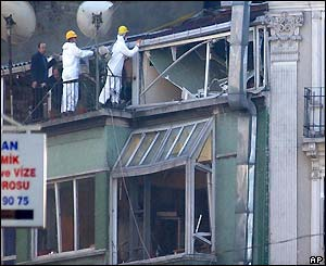 Police looking for forensic evidence on the roof of a building near the British Consulate in Istanbul, Turkey