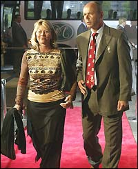 Jayne and Clive Woodward arrive at the IRB awards dinner