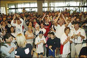 England fans flock to the England team hotel