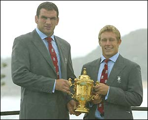 England captain Martin Johnson and match-winner Jonny Wilkinson pose with the Webb Ellis World Cup trophy