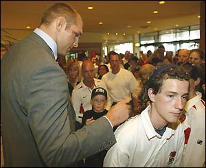 Ben Kay signs an England fan's shirt