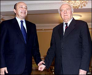 Russian Foreign Minister Igor Ivanov (left) meets Eduard Shevardnadze (right)