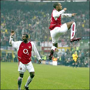 Henry celebrates his third goal in Europe this season