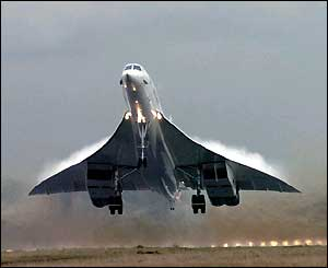 Concorde taking off for the last time from London's Heathrow airport