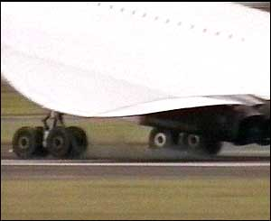 Concorde's landing gear touches the ground at Filton Airfield, Bristol