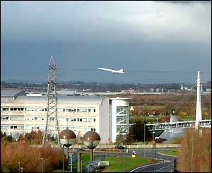 Concorde flying over Bristol, as photographed by a BBCi user