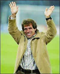 Gianfranco Zola salutes the Chelsea fans