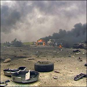 Tyre debris from friendly fire in Iraq