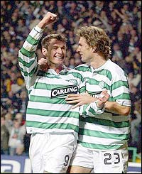 Celtic's Chris Sutton is congratulated by Stanislav Varga after scoring the third goal