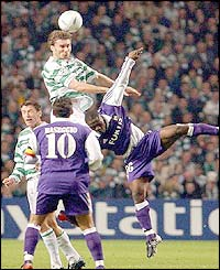 Celtic's Stanislav Varga wins a header