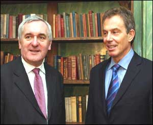 Irish PM Bertie Ahern and UK counterpart Tony Blair discussed the election when they met in Wales on Friday