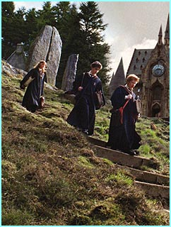 Harry, Ron and Hermione rush down some steps in their school uniform outside Hogwarts
