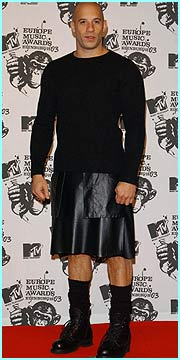 Also hosting was Vin Diesel, who got into the spirit of the event in Scotland by wearing a kilt, er, sort o