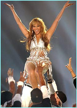 Beyonce is quite literally carried away while performing at the spectacular event