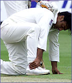 Pakistan Shoaib Akhtar holds his ankle