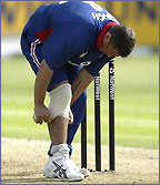 Darren Gough adjusts his knee support in a one-day international