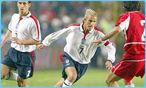England captain David Beckham in action