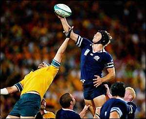 Scotland's Simon Taylor wins the line-out
