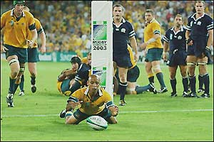 George Gregan scores Australia's second try