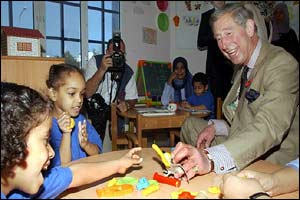 The Prince of Wales and children at a centre for disabled children in Muscat