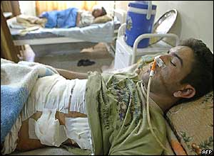 A wounded man in the hospital in Samarra
