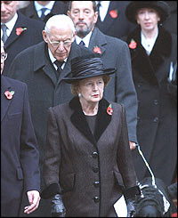 Former Prime Minister Baroness Thatcher was among the dignitaries attending