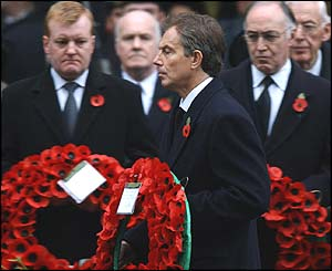 Tony Blair led the tributes of senior politicians at the Cenotaph