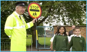 Lollipop man on duty
