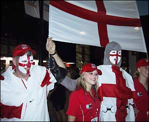 England fans cheer on their fans against Wales