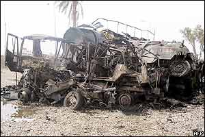 Wreckage of a suspected lorry that carried the explosives