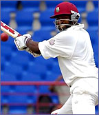 Brian Lara cuts in action for the West Indies