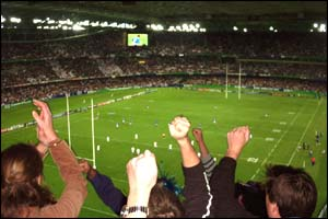 A view of the England v Samoa game from high up in the stands