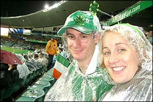 Irish supporters in the rain during Ireland's game against Namibia