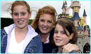 Princess Eugenie of York (born 1990) on the right with her elder sister, Beatrice, and her mum, Sarah Ferguson